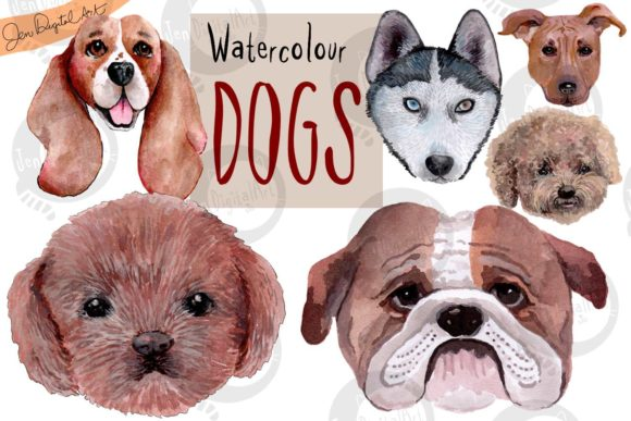 Hand Painted Watercolor Dogs Graphic Illustrations By Jen Digital Art - Image 1