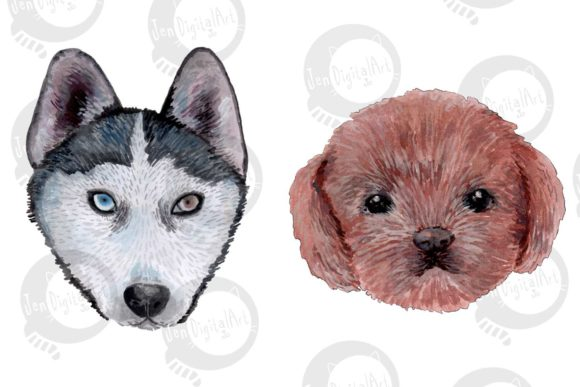 Hand Painted Watercolor Dogs Graphic Illustrations By Jen Digital Art - Image 3