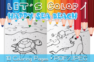 Happy Sea Beach Coloring Pages Graphic Coloring Pages & Books Kids By WADLEN