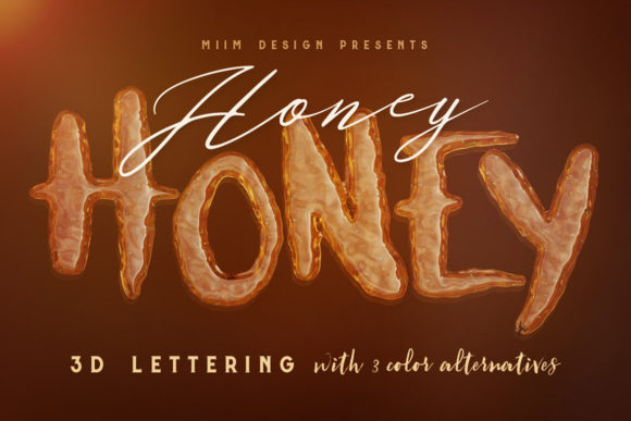 Download Free Honey Honey 3d Lettering Graphic By Jumbodesign Creative Fabrica for Cricut Explore, Silhouette and other cutting machines.