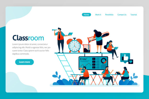 Print on Demand: Illustration for Classroom Landing Page Graphic Graphic Templates By setiawanarief111