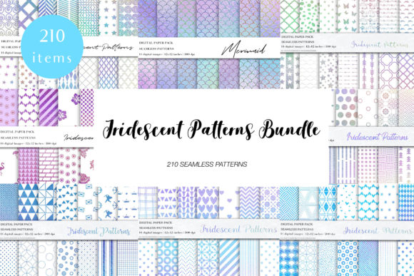 Download Free Iridescent Rainbow Patterns Bundle Graphic By Bonadesigns for Cricut Explore, Silhouette and other cutting machines.
