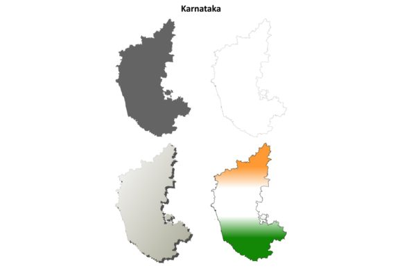 Download Free Karnataka Outline Map Set Graphic By Davidzydd Creative Fabrica for Cricut Explore, Silhouette and other cutting machines.