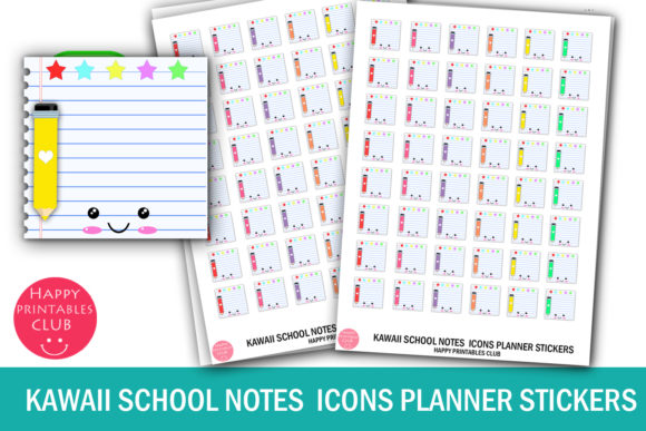 Print on Demand: Kawaii School Notes Icon Planner Sticker Graphic Crafts By Happy Printables Club
