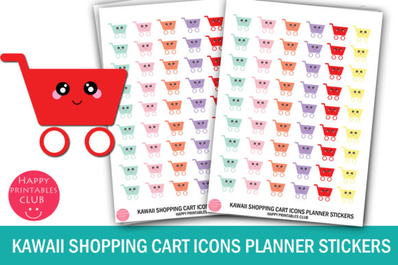 Download Free Kawaii Shopping Cart Icons Stickers Graphic By Happy Printables for Cricut Explore, Silhouette and other cutting machines.