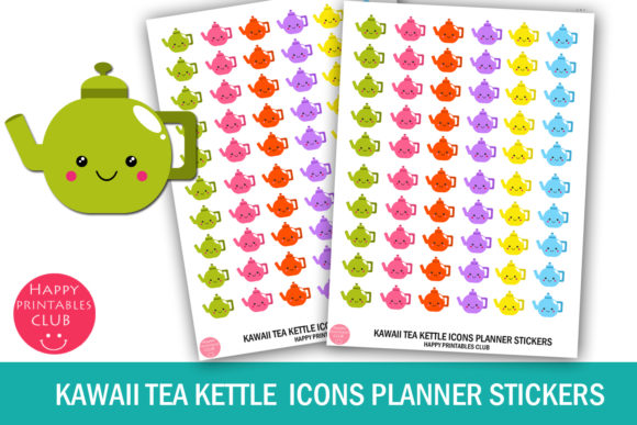 Download Free Kawaii Tea Kettle Icons Planner Stickers Graphic By Happy SVG Cut Files