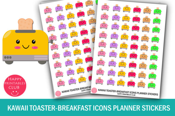 Download Free Kawaii Toaster Breakfast Icons Planners Graphic By Happy for Cricut Explore, Silhouette and other cutting machines.