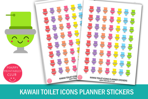 Download Free Kawaii Toilet Icons Planner Stickers Graphic By Happy Printables for Cricut Explore, Silhouette and other cutting machines.