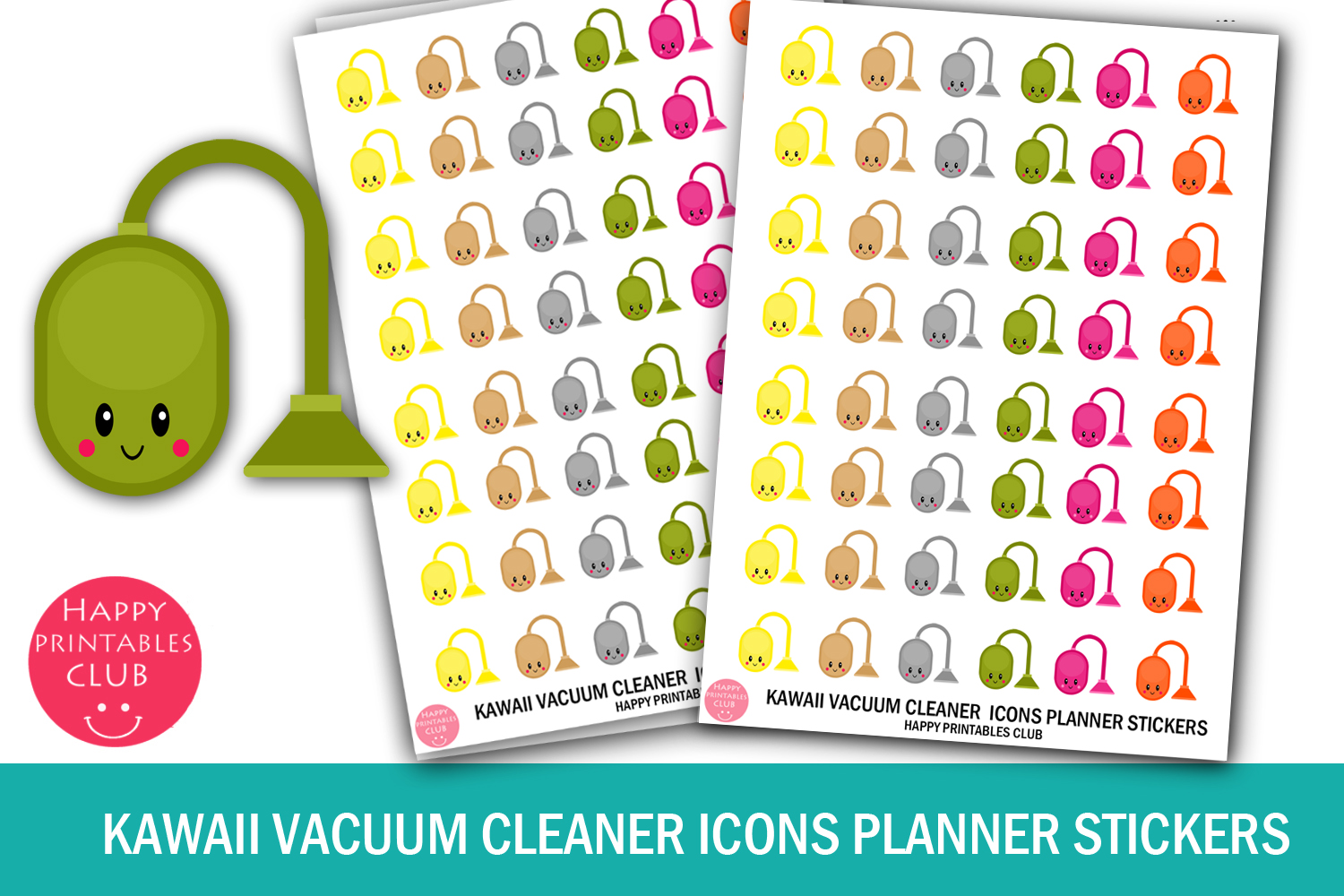 Kawaii Vacuum Icons Planner Stickers Graphic By Happy Printables
