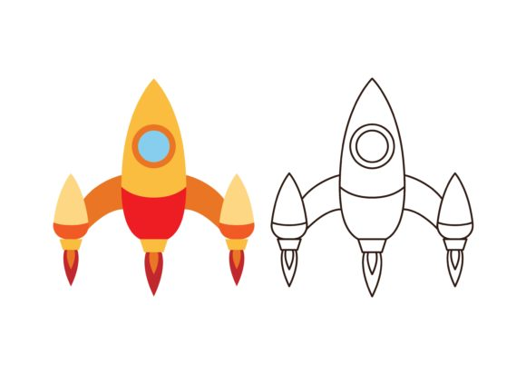 Print on Demand: Kids Coloring Rocket (2) Graphic Illustrations By studioisamu