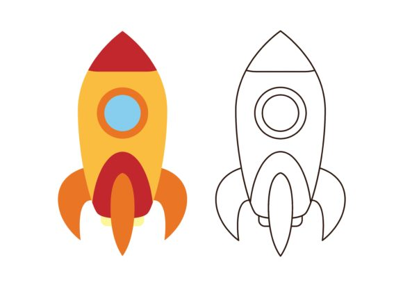 Print on Demand: Kids Coloring Rocket (3) Graphic Illustrations By studioisamu