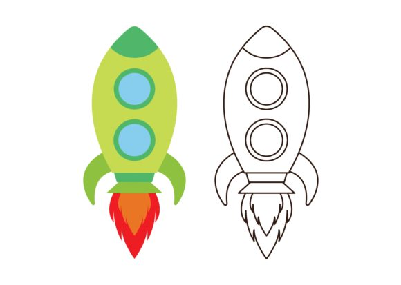 Print on Demand: Kids Coloring Rocket Graphic Illustrations By studioisamu