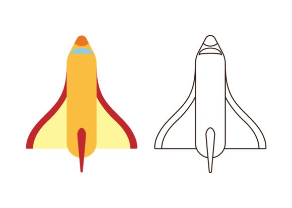 Download Free Kids Coloring Space Shuttle Graphic By Studioisamu Creative for Cricut Explore, Silhouette and other cutting machines.