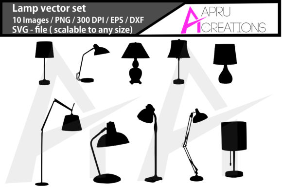 Download Free Lamps Silhouette Lamps Vector Graphic By Aparnastjp Creative for Cricut Explore, Silhouette and other cutting machines.
