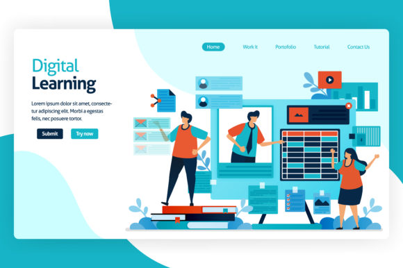 Print on Demand: Landing Page for Digital Learning Graphic Graphic Templates By setiawanarief111