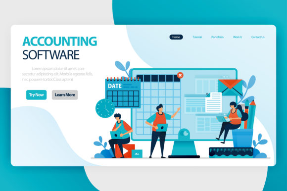 Download Free Landing Page Of Accounting Software Graphic By Setiawanarief111 for Cricut Explore, Silhouette and other cutting machines.