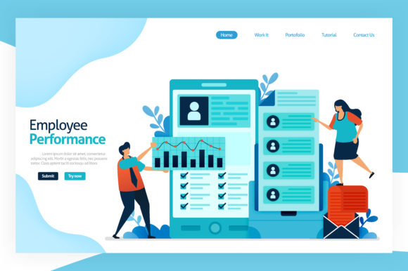 Print on Demand: Landing Page of Employee Performance Graphic Graphic Templates By setiawanarief111