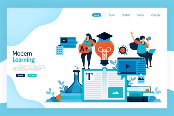 Print on Demand: Landing Page of Modern Learning Graphic Graphic Templates By setiawanarief111
