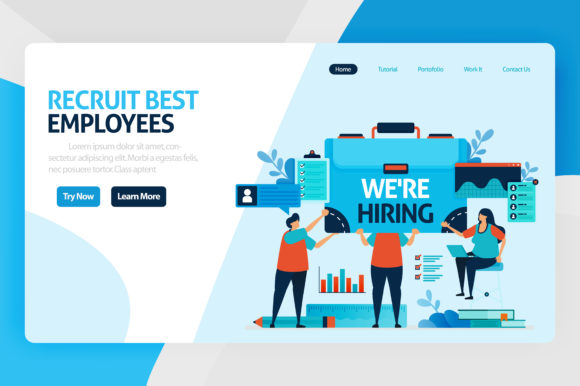 Print on Demand: Landing Page of We Are Hiring Employees Graphic Graphic Templates By setiawanarief111