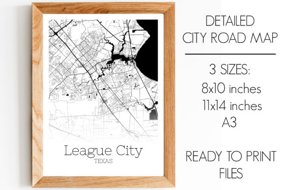 Print on Demand: League City Texas City Map Graphic Photos By SVGExpress