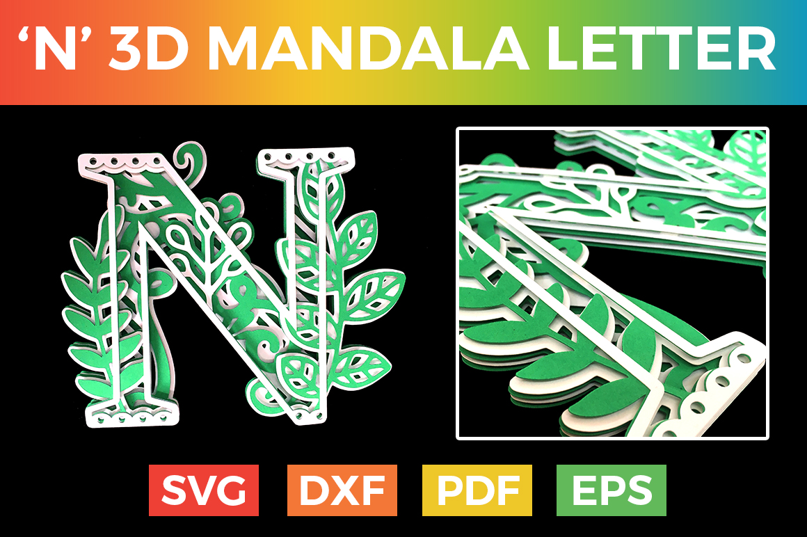 Download Free Letter N 3d Alphabet For Cricut Graphic By Craftandcut for Cricut Explore, Silhouette and other cutting machines.