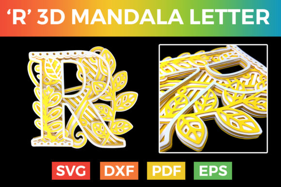 Download Free Letter R 3d Alphabet For Cricut Graphic By Craftandcut for Cricut Explore, Silhouette and other cutting machines.