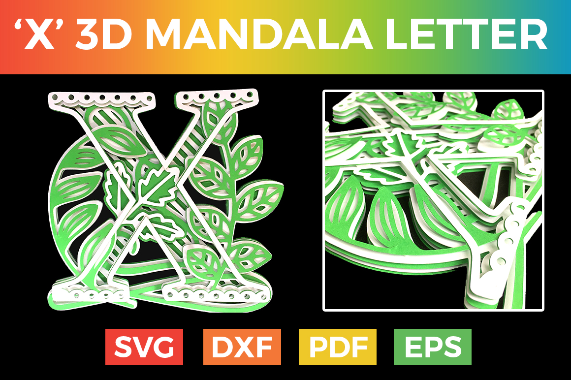 Download Free Letter X 3d Alphabet For Cricut Graphic By Craftandcut for Cricut Explore, Silhouette and other cutting machines.