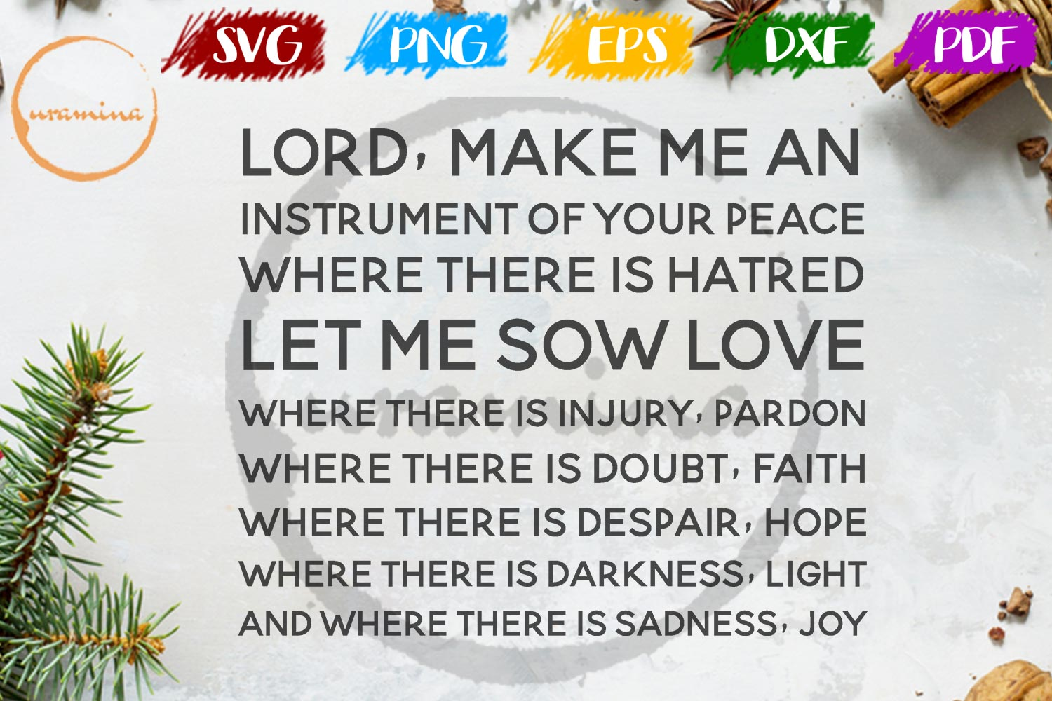 Download Free Lord Make Me An Instrument Of Your Peace Graphic By Uramina Creative Fabrica for Cricut Explore, Silhouette and other cutting machines.