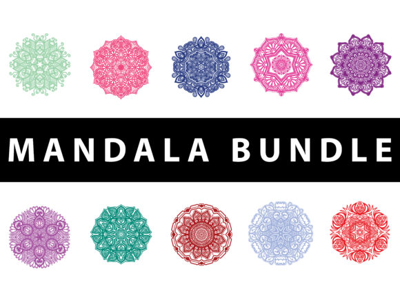 Download Free Mandala Colorful Vector Set Graphic By Redsugardesign Creative for Cricut Explore, Silhouette and other cutting machines.