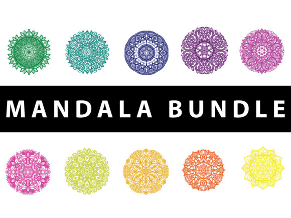Download Free Mandala Set Vector Rainbow Graphic By Redsugardesign Creative for Cricut Explore, Silhouette and other cutting machines.