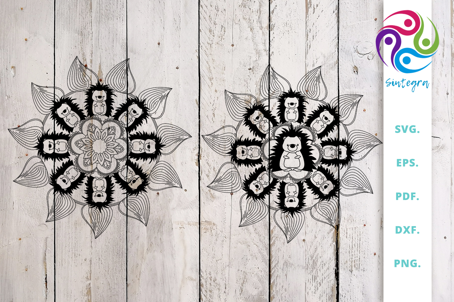 Download Free Mandala Out Of Hedgehog And Flowers Graphic By Sintegra for Cricut Explore, Silhouette and other cutting machines.