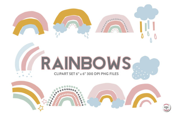 Download Free Minimal Rainbow Clipart Pastel Colors Graphic By Nina Prints for Cricut Explore, Silhouette and other cutting machines.