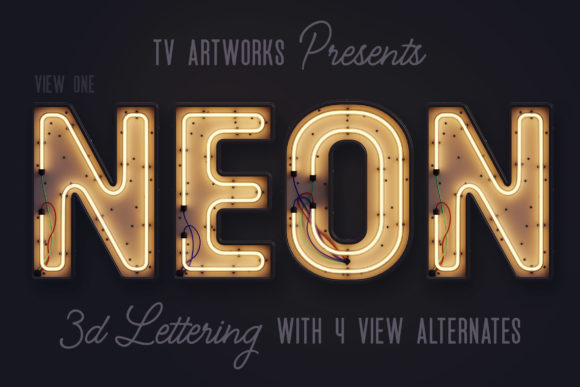 Download Free Modern Neon 3d Lettering Graphic By Tvartworks Creative Fabrica for Cricut Explore, Silhouette and other cutting machines.