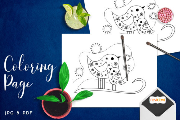 Print on Demand: Mom and Baby Bird Coloring Graphic Coloring Pages & Books Kids By Revidevi