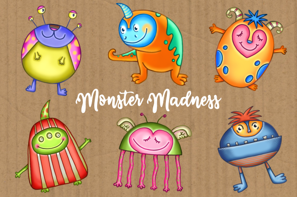 Print on Demand: Monster Madness Funny Creature Clipart Graphic Illustrations By Prawny