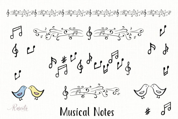 Download Free Musical Notes Clipart Graphic By Rasveta Creative Fabrica for Cricut Explore, Silhouette and other cutting machines.