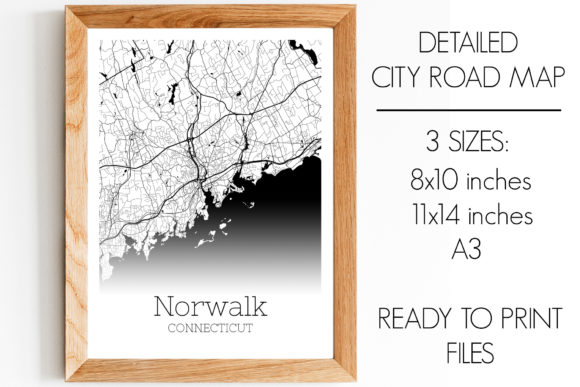 Print on Demand: Norwalk Connecticut City Map Graphic Photos By SVGExpress