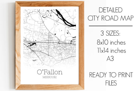 Print on Demand: O'Fallon Missouri City Map Graphic Photos By SVGExpress