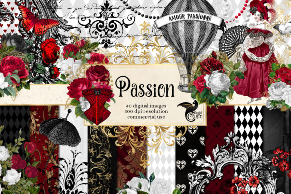 Print on Demand: Passion Digital Scrapbook Kit Graphic Illustrations By Digital Curio