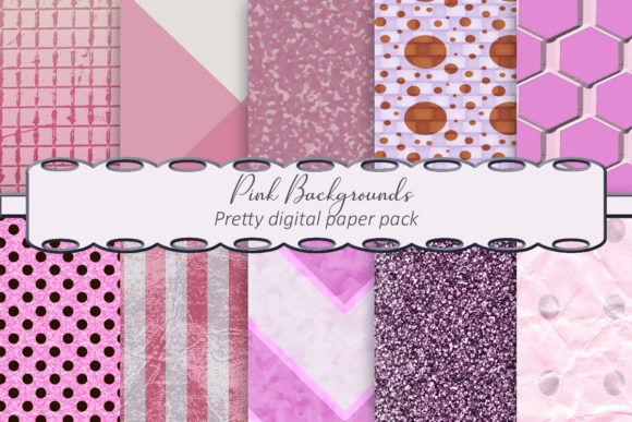 Print on Demand: Pink Backgrounds Digital Paper Pack Graphic Backgrounds By A Design in Time