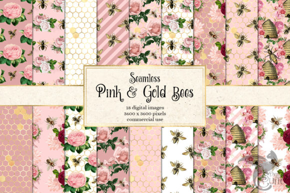 Print on Demand: Pink and Gold Bees Digital Paper Gráfico Moldes Por Digital Curio