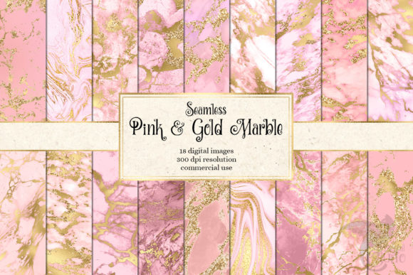 Print on Demand: Pink and Gold Marble Digital Paper Graphic Textures By Digital Curio