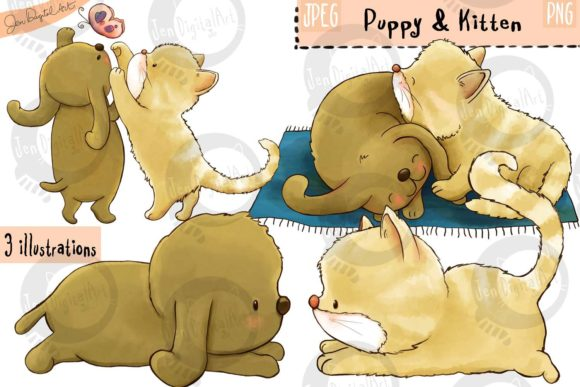 Puppy and Kitten Graphic Illustrations By Jen Digital Art