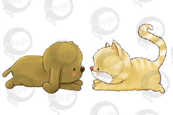 Puppy and Kitten Graphic Illustrations By Jen Digital Art - Image 2