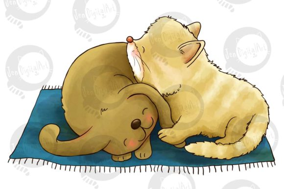 Puppy and Kitten Graphic Illustrations By Jen Digital Art - Image 3