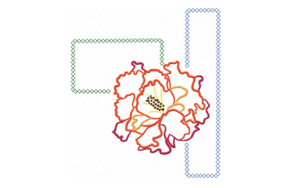 Print on Demand: Red Carnation Colorful Flower Outline Flowers Embroidery Design By EmbArt