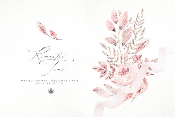 Print on Demand: Romantic Time - Watercolor Floral Set Graphic Illustrations By webvilla