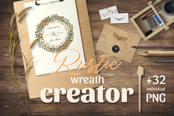 Download Free Rustic Wreath Creator Graphic By Gray Cat Graphics Creative for Cricut Explore, Silhouette and other cutting machines.