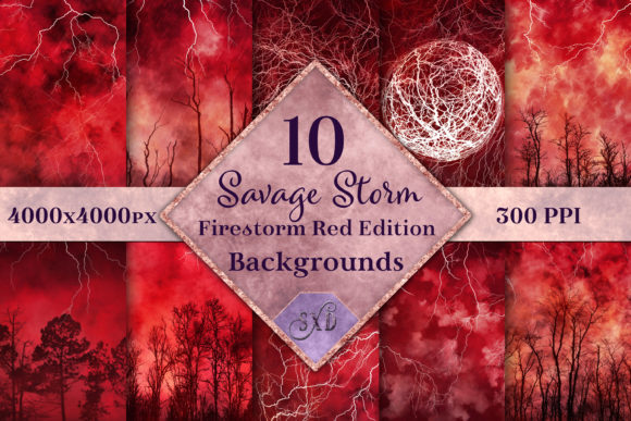 Print on Demand: Savage Storm - Firestorm Red Backgrounds Graphic Backgrounds By SapphireXDesigns