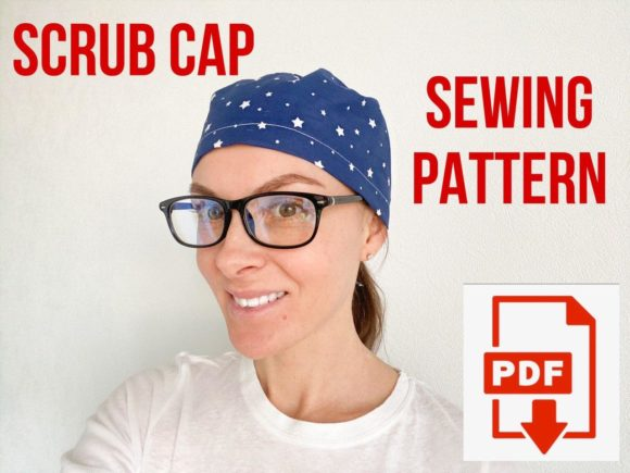 Scrub Cap Sewing Pattern Style 2 Graphic Sewing Patterns By Cotton Miracle Studio - Image 1